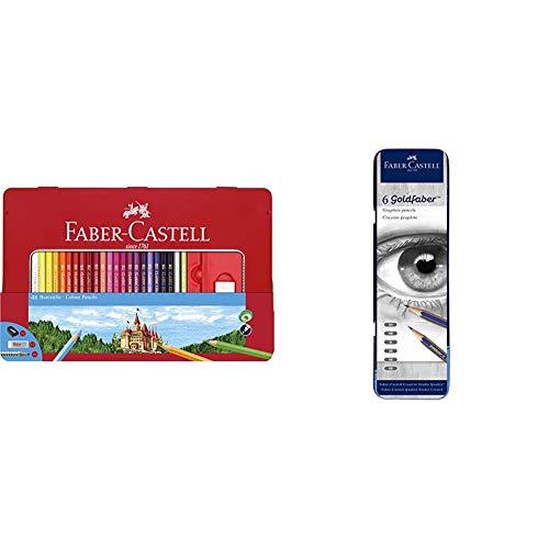 Faber-Castell Classic Colored Pencils Tin Set, 48 Vibrant Colors In Sturdy Metal Case & Creative Studio Graphite Sketch Pencil Set – 6 Graphite Pencils (2H, HB, B, 2B, 4B, 6B)