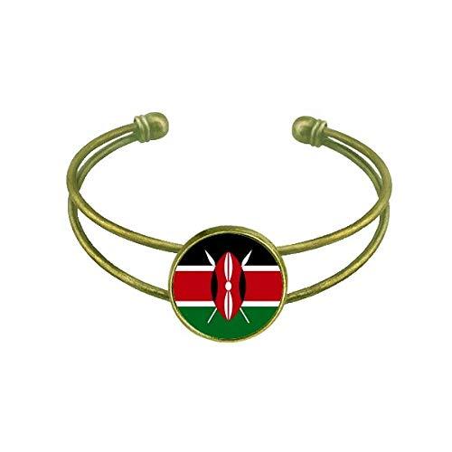 DIYthinker Kenia Nationalflagge Afrika Land Armband Armreif Retro Offene Manschette Schmuck