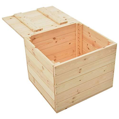 Irfora Holztruhe Klein Gartenbox Holz Truhenbank Auflagenboxen Aufbewahrungsbox Garten Gartentruhe Sitztruhe Kissenbox Truhe Outdoor, 60x54x50,7 cm Massivholz Kiefer