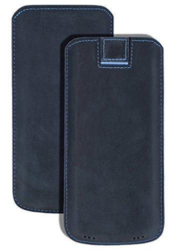 Suncase Original Wiko View 2 | Wiko View 2 PRO | *Ultra Slim* Leder Etui Tasche Handytasche Ledertasche Schutzhülle Hülle Hülle (mit Rückzuglasche) in pebble-blue
