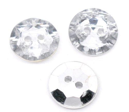 25 cristal en plastique 18 mm avec 2 boutons, couture brossé pour l'Art, les vêtements, l'artisanat, bijoux et plus encore.
