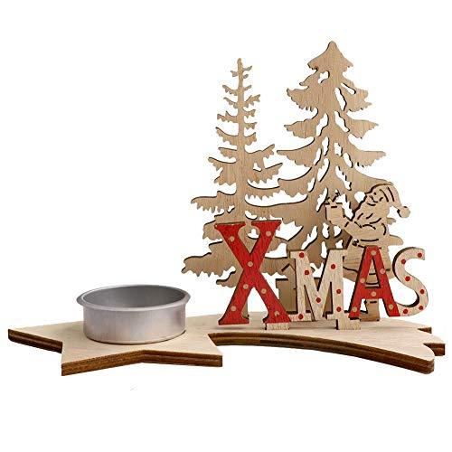 Natale Portacandele Ornamenti natalizi fai-da-te Decorazioni per candelieri in legno Albero di Natale Chriastmas Tea tea Candle Holder Candela in legno per Natale,Matrimoni,Oggettistica per la casa A