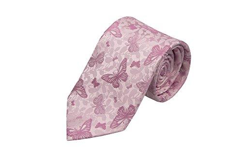 Notch Krawatte aus Seide für Herren - Rosa Basis mit Schmetterlingen in dunklem Pink