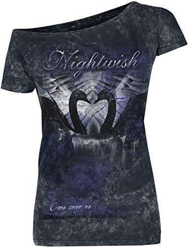 Nightwish Come Cover Me Mujer Camiseta Negro S, 100% algodón, Regular