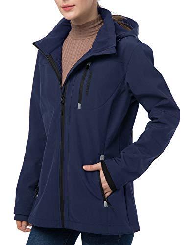 Women's Softshell Jacket with Removable Hood, Fleece Lined Waterproof Windproof Outdoor Cycling Hiking Coat