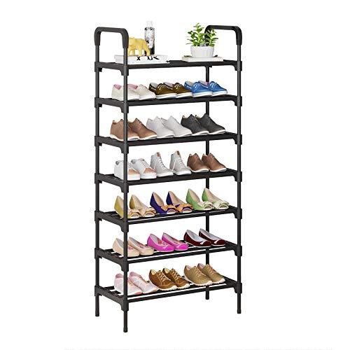 UDEAR Organizador de Zapatos de 7 Niveles, estantes de Metal de pie para 21-24 Pares de Zapatos para Sala de Estar, Entrada, Pasillo y guardarropa, Negro