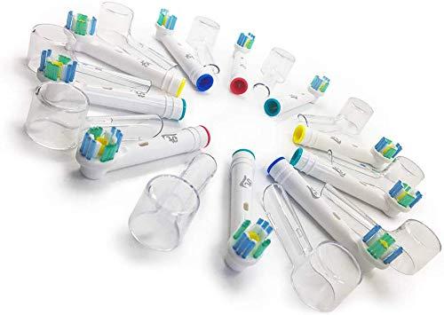 10 Testine di Ricambio Oral B Compatibili 3D White Generiche 3AG + 10 Copritestine di Protezione Igienici per spazzolino elettrico Oral-B Sensitive, Professional Care, Vitality, ecc