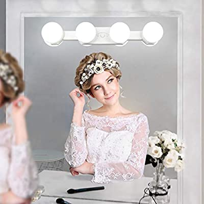 Portable Makeup Lights Cordless Rechargeable Professional LED Vanity Mirror Light with 4 LED Bulbs Brightness Color Temperature Adjustable for Bathroom Dressing Room Vanity Table(Mirror Not Included)