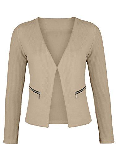 Damen Blazer mit Taschen (382), Farbe:Beige, Kostüme & Blazer für Damen:44 / XXL