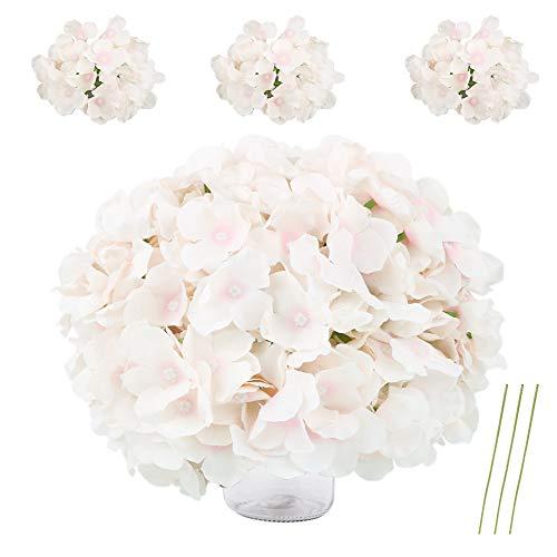 VINFUTUR 10 Stücke Künstlich Hortensie Blüteköpfe Seideblumen Gefälscht Hydrangea + 10 Pcs Künstlich Blumenstiel für DIY Braut Hochzeit Blumensträuße Party Home Garten Deko