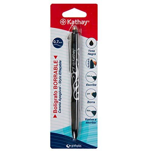 Kathay 86200010 Kugelschreiber, radierbar, Schwarz, Gel, Spitze 0,7 mm, Klicköffnung