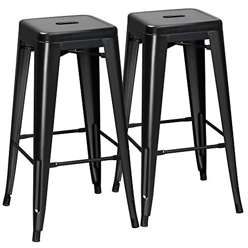 Yaheetech 2er Set Barhocker Metall Tresenhocker Bistrohocker Retro-Hocker stapelbar, 42,5 x 42,5 x 76,5 cm