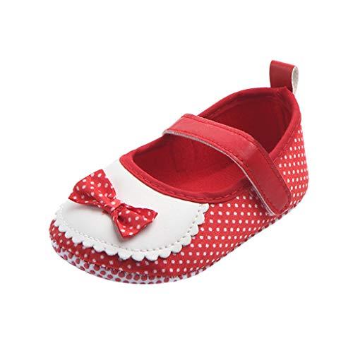 Comie Zapatos para bebé, niña, con lazo, a la moda, para niños, bailarina, princesa, informal, planos, para ocio, gatear, pesebre. rojo (6-9 meses)