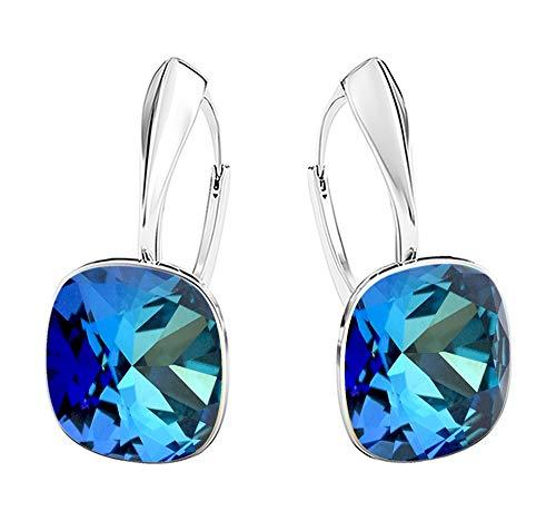 Crystals & Stones NEUHEIT - SQUARE - Tolle Ohrringe - FARBE VARIANTEN !! - Silber 925 Schön Damen Ohrringe mit Kristallen von Swarovski Elements - Wunderbare Ohrringe !! (Bermuda Blue)