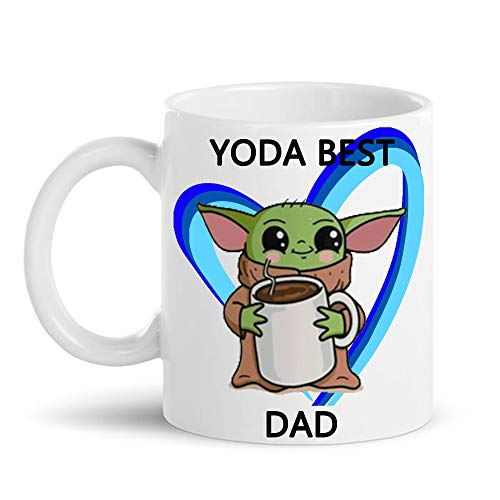 Mickey Prints Best Dad Gift with Free Pouch Baby Yoda Best Dad Mug or Birthday Gifts for dad Coffee Cups Funny Gifts for Dady