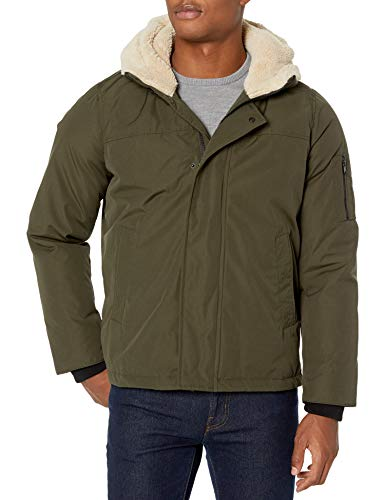 IZOD Men's Ultra Warm Hipster Jacket with Sherpa Trim, Camouflage Green, X-Large