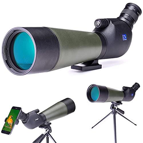 Mira telescópica 2 - -60X80, telescopio de observación HD a prueba de agua con trípode, bolsa de transporte y adaptador de teléfono inteligente para observación de aves, tiro.Arc Safari, Turismo, C