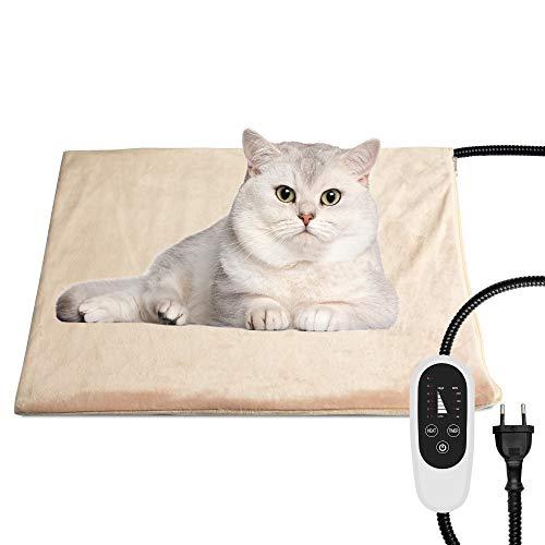 NICREW Manta Eléctrica para Mascotas, Almohadilla Térmica para Perros y Gatos con Temporizador, Manta para Mascota con 6 Niveles Disponibles de Temperatura, 45x40 cm