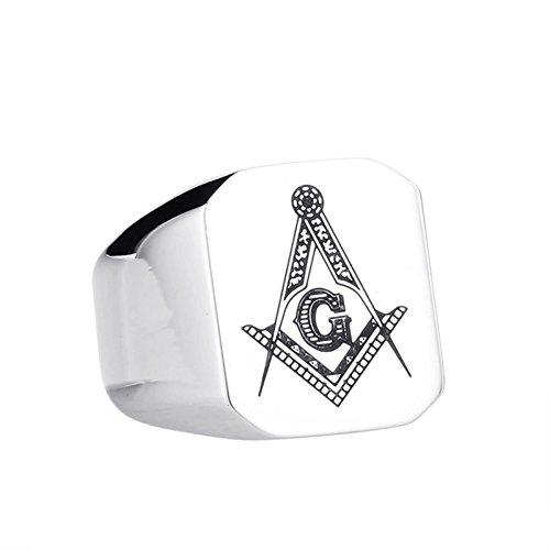 Beydodo Anillos Goticos Hombre,Anillo de Hombre Acero Inoxidable Plata Anillo Hombre Masonico Anillo Mason Talla 25(20.7)