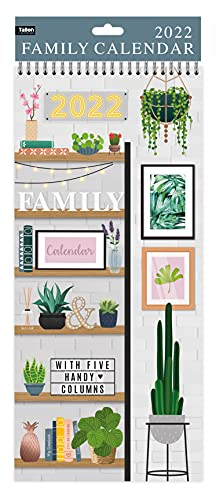 2022 Family Organiser Calendar Large Slim Spiral Planner Month to View 5 Columns for Organising Your Family – Home (Design No. 2)