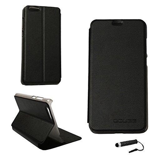 Tasche für Elephone S7 Hülle, Ycloud PU Ledertasche Metal Smartphone Flip Cover Hülle Handyhülle mit Stand Function Schwarz