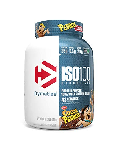 Dymatize ISO100 Hydrolyzed Protein Powder, 100% Whey Isolate Protein, 25g of Protein, 5.5g BCAAs, Gluten Free, Fast Absorbing, Easy Digesting, Cocoa Pebbles, 3 Pound