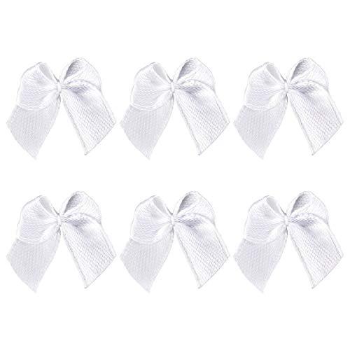 SUPVOX 100 stücke Kleine Satinband Bögen Grosgrain Hair Bows Verschönerung für DIY Handwerk (Weiß)