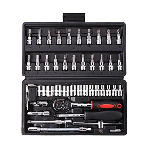46pcs Socket Ratchet Herramienta de reparación de automóviles Conjunto de llaves de llave trinquete de trinquete con llave inglesa Destornillador Profesional Metalurgia herramienta Kit