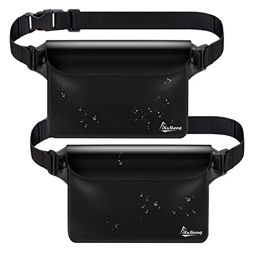 iKuShang Waterproof Pouch 2 Pack Waterproof Fanny Pack Waterproof Phone Case Waterproof Wallet Protect Your Valuables Safe & Dry Perfect for Boating Swimming Beach Pool Water Parks (Black+Black)