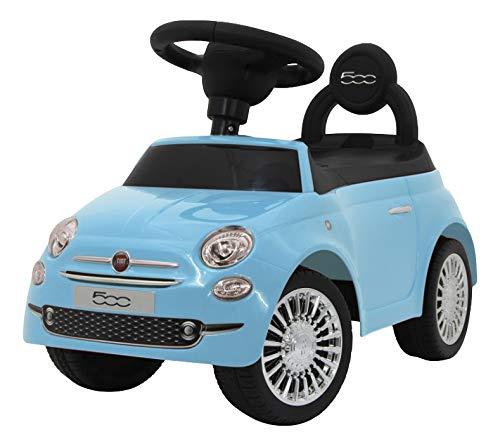 Eco Toys MamaLoes FIAT 500, Lauflernauto mit Lenkrad, Hupe und Geheimfach, blau HZ8620