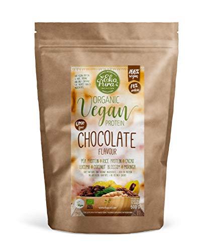 Natural Vegan Protein - Chocolate (Bio & Plantaardig Eiwitpoeder) - 70% Eiwit, zonder Kunstmatige Toevoegingen, 500g