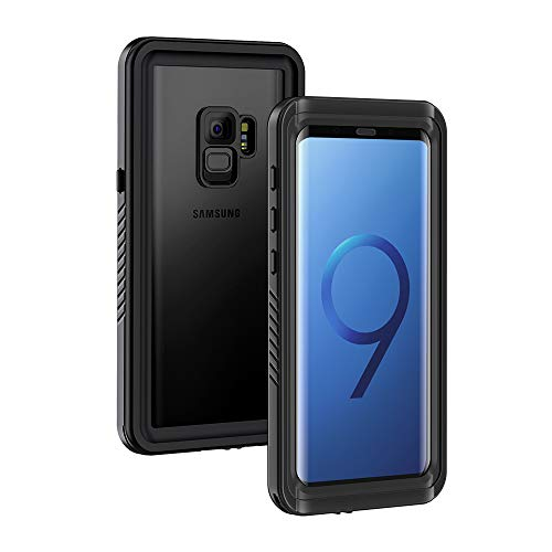 Lanhiem Galaxy S9 Case, IP68 Waterproof Dustproof Shockproof Case with Built-in Screen Protector, Full Body Sealed Underwater Protective Cover for Samsung Galaxy S9 (Black)