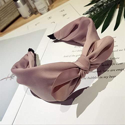 Tocado de Boutique para Mujer Simple Color sólido bobinado Medio Anudado Orejas de Conejo Arco de ala Ancha Diadema para el Cabello Rizado-Rosado