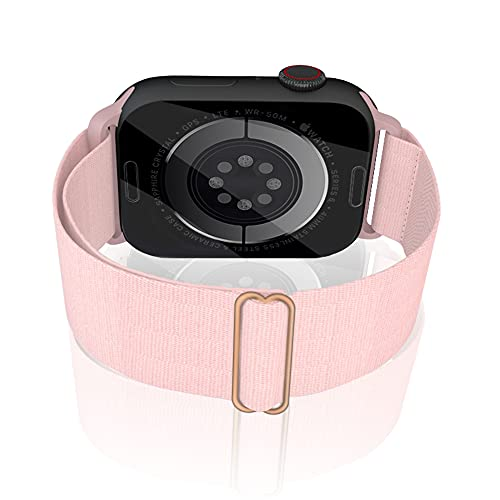 Migeec Correa de reloj Nylon Solo Loop compatible con Apple Watch 38 42 40 44 mm, correa deportiva trenzada elástica ajustable para iWatch SE / 6/5/4/3/2/1 Series, rosa