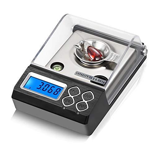 Báscula de Bolsillo Digital 50g 0.001g, Balanzas de joyería eléctricas,Pantalla LCD con...