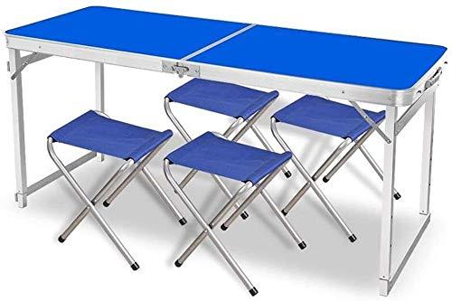 LQ Taburetes 1,5 M acampa Plegable de Aluminio Ultraligero Tabla Protable Barbacoa de la Comida campestre Que acampa cocinando Tarea Trabajo (Color : 1 Table+4 stools A, Size : Blue)