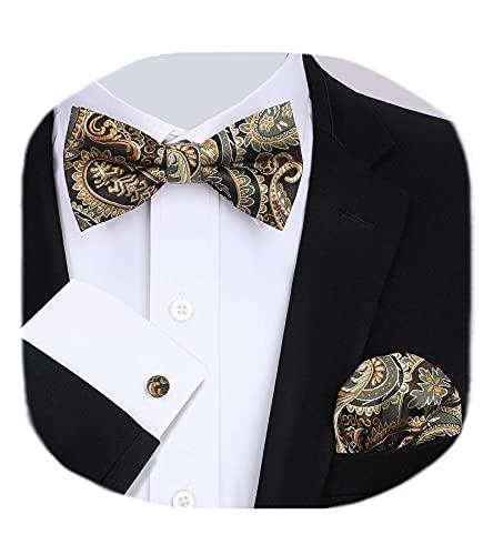 HISDERN Herren Paisley Gold braun Fliege und Einstecktuch mit Manschettenknöpfe Set, Schleife mit Haken - Bereits Gfebunden,Verstellbare Fliege,für Hochzeit Sfeier Weihnachten Halloween