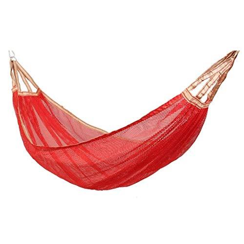 Hamac portable en maille pour activités en plein air - Hamac de camping - Hamac de voyage - Hamac de camping - Cadeau pour les randonneurs - Rouge - ZJ666