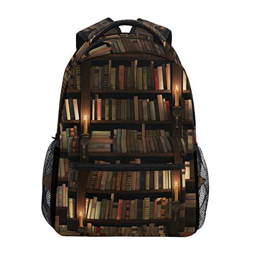 Qmin Sac à dos pour bibliothèque, bibliothèque, école, voyage, université, sac à dos, fermeture éclair, ordinateur portable, randonnée, camping, sac à bandoulière pour garçons, filles, femmes, hommes