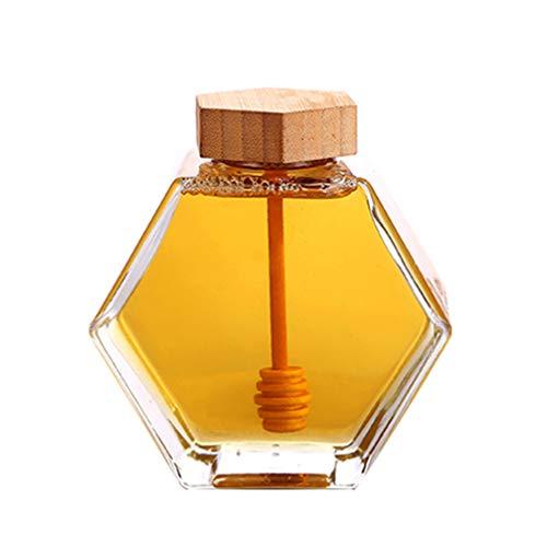 UPKOCH Pot en verre miel en forme hexagonale, récipient pour miel sirop, récipient alvéare avec louche en bois et bouchon de liège pour cuisine domestique 220 ml