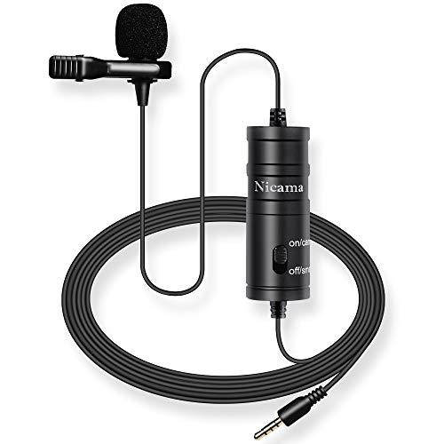 Micrófono de Solapa con Parabrisas Muff, Nicama LVM1 Lavalier micrófono para DSLR Canon Nikon Sony réflex digitales Videocámaras Cámaras de vídeo/Smartphone iPhone Macbook