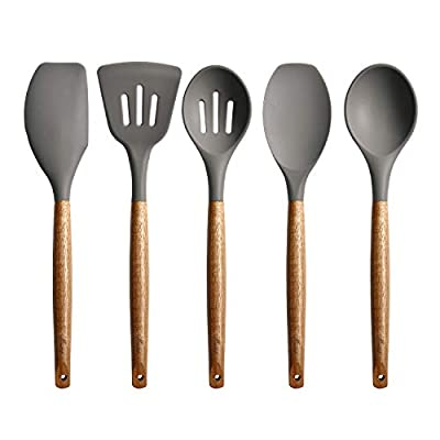 Miusco Non-Stick Silicone Cooking Utensils Set with Natural Acacia Hard Wood Handle, 5 Piece, Grey, High Heat Resistant from Miusco