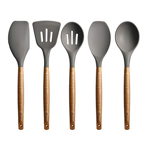 Non-Stick Silicone Cooking Utensils Set with Natural Acacia Hard Wood Handle