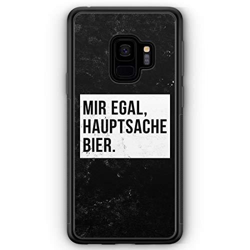 Mir Egal Hauptsache Bier - Silikon Hülle für Samsung Galaxy S9 - Motiv Design Cool Witzig Lustig Spruch Zitat Grunge - Handyhülle Schutzhülle Hülle Schale