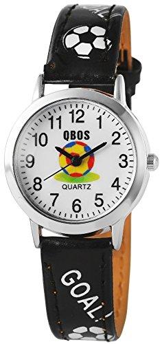 Fußball QBOS Uhr mit schwarzem Lederarmband