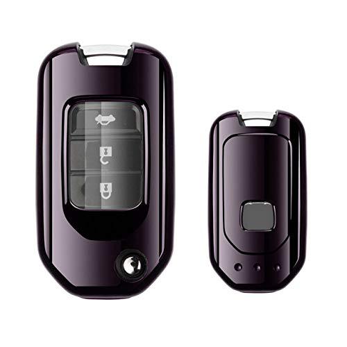 FFHJHJ Étui pour clé de Voiture, Couverture complète Nouvelle étui de Poche pour clé de Voiture en TPU Souple pour Honda Civic CR-V HR-V Accord Jade Crider Odyssey 2015-2018 Protecteur à Distance,