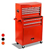 Big Removable Tool Chest, Rolling Tool Chests with Wheels (2PCS Lockable) and Drawers, Top Tray and Bottom Cabinet Door with Keyed Locking System, for Garage, Warehouse, and Workshop, etc(Red)