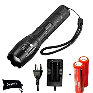 LED linterna recargable, Antorcha Táctica Militar Pequeña Linterna de Mano, Max 1200 LM, Alta Potencia Antorcha, 5 Modos Ajustable Impermeable de Mano Linternas con 18650 batería recargable