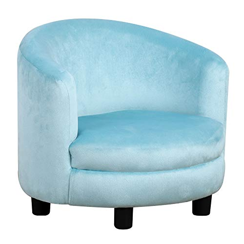 Qaba Velvet Kids Sofa Child Chair Armchair Kids Furniture with Armrest, Plastic Legs, Blue