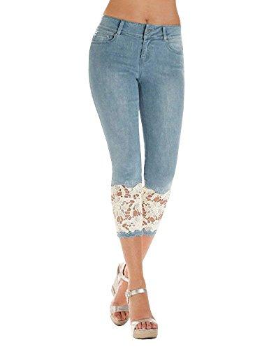 ShallGood Damen Capri Jeanshosen Sommer Skinny Spitze Denim Stretch Hosen Hohe Taille 3/4 Länge Leggings Spitze Hosen (Large, Blau)